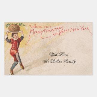 Vintage Christmas Card Pie Cute Kid Servant Sticker