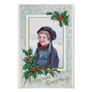 Vintage Christmas Card Poster