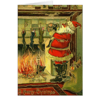 Vintage Christmas Card - Santa Stockings