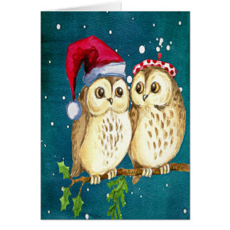 Vintage Christmas card with 2 beautiful owls