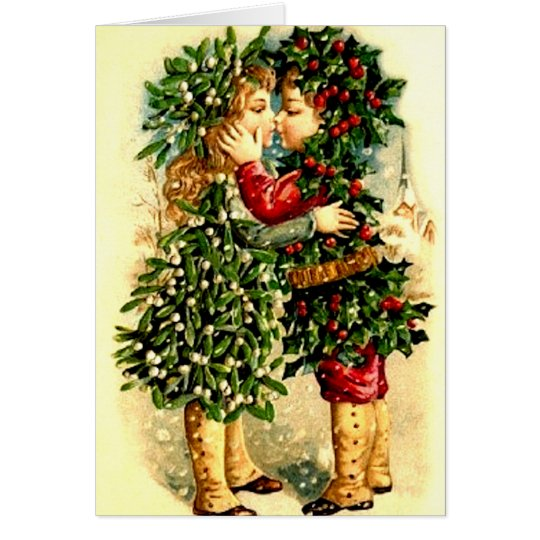 Vintage Christmas Card with a Kiss