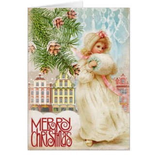 Vintage Christmas Card Young White fur Village