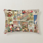 Vintage Christmas Cards Holiday Pattern Decorative Pillow