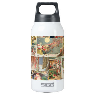 Vintage Christmas Cards Holiday Pattern Insulated Water Bottle