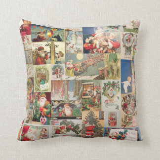 Vintage Christmas Cards Holiday Pattern Pillows