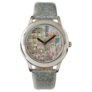Vintage Christmas Cards Holiday Pattern Watches