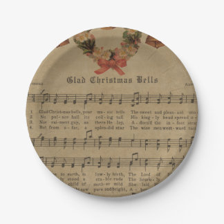 Vintage Christmas Carol Music Sheet 7 Inch Paper Plate