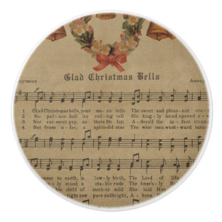 Vintage Christmas Carol Music Sheet Ceramic Knob