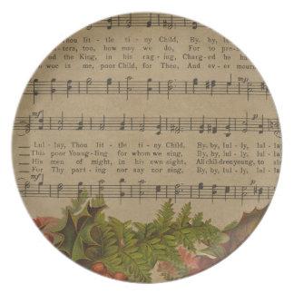 Vintage Christmas Carol Music Sheet Dinner Plate