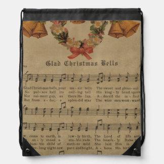 Vintage Christmas Carol Music Sheet Drawstring Bag