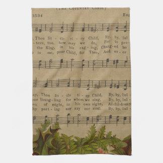 Vintage Christmas Carol Music Sheet Hand Towels