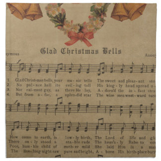 Vintage Christmas Carol Music Sheet Napkin