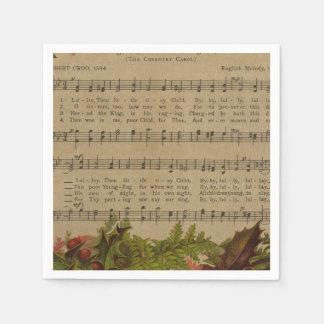 Vintage Christmas Carol Music Sheet Paper Napkin