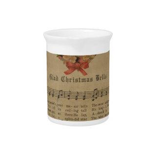 Vintage Christmas Carol Music Sheet Pitcher