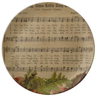 Vintage Christmas Carol Music Sheet Porcelain Plates