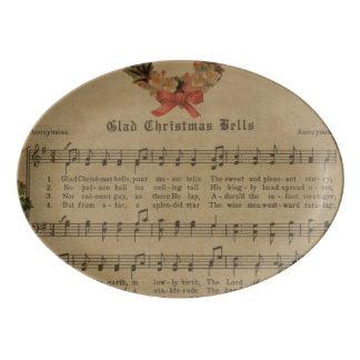 Vintage Christmas Carol Music Sheet Porcelain Serving Platter