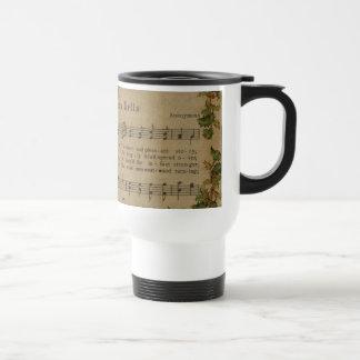 Vintage Christmas Carol Music Sheet Travel Mug