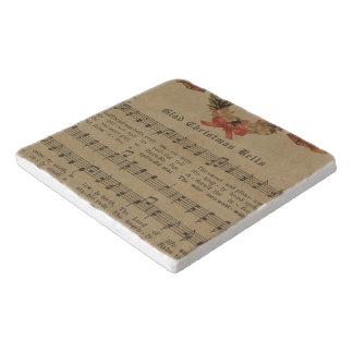 Vintage Christmas Carol Music Sheet Trivet