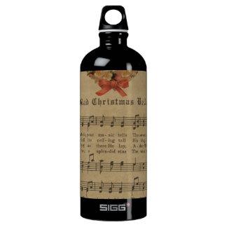 Vintage Christmas Carol Music Sheet Water Bottle