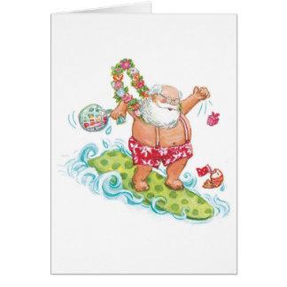 Vintage Christmas Cartoon Surfing Santa Claus Card