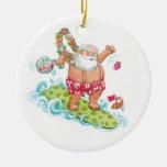 Vintage Christmas Cartoon Surfing Santa Claus Christmas Tree Ornaments