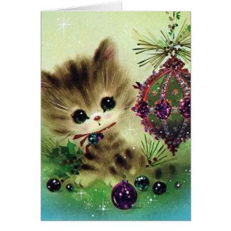 Vintage Christmas cat add message retro card