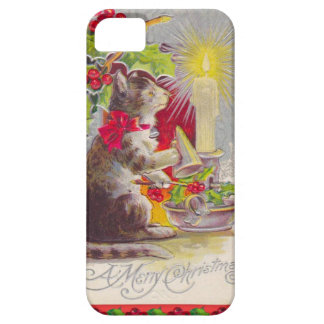 Vintage Christmas, Cat among decorations iPhone 5 Cover