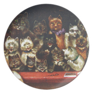 Vintage Christmas Cat Family - At the Play Party Plate