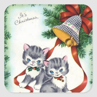Vintage Christmas cats Holiday sticker