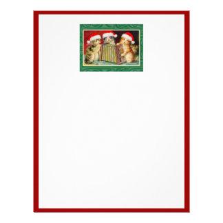 Vintage Christmas Cats Letterhead Design