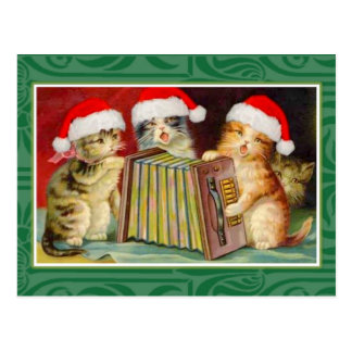 Vintage Christmas Cats Post Card