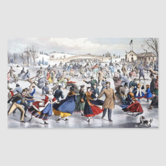 Vintage Christmas Central Park Ice Skaters Sticker