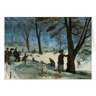 Vintage Christmas, Central Park in Winter Glackens Card