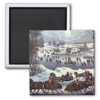 Vintage Christmas, Central Park in Winter Magnet