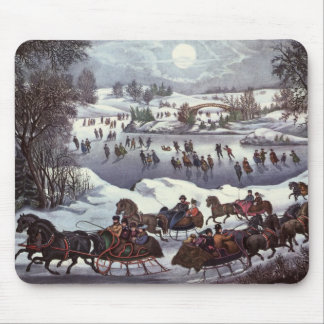 Vintage Christmas, Central Park in Winter Mouse Pad