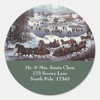 Vintage Christmas, Central Park in Winter Round Sticker