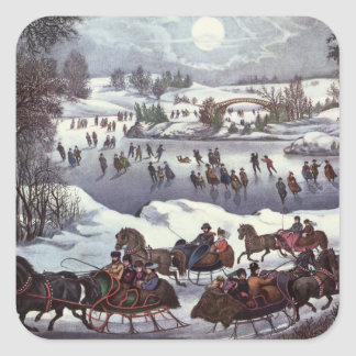 Vintage Christmas, Central Park in Winter Square Sticker