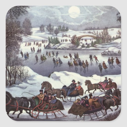 Vintage Christmas, Central Park in Winter Sticker