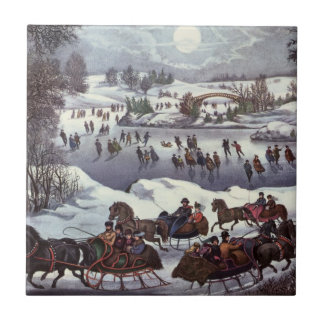 Vintage Christmas, Central Park in Winter Ceramic Tile