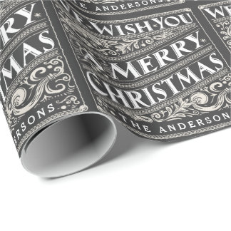 VINTAGE CHRISTMAS CHALKBOARD PERSONALIZED WRAPPING