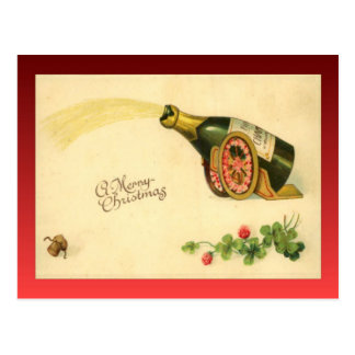 Vintage Christmas, Champagne bottle Postcard