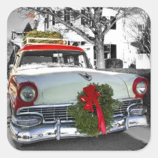 Vintage Christmas Chevy Square Sticker