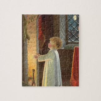 Vintage Christmas, Child Warming by the Fireplace Jigsaw Puzzles
