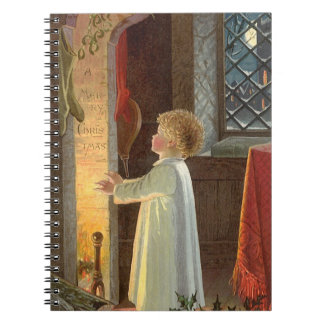 Vintage Christmas Child Warming by the Fireplace Spiral Notebooks