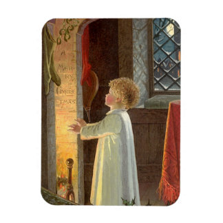Vintage Christmas, Child Warming by the Fireplace Rectangular Photo Magnet
