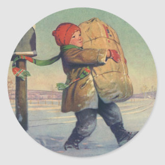 Vintage Christmas, Child with Large Package Classic Round Sticker
