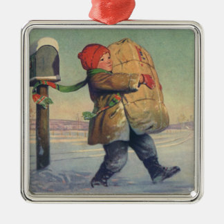 Vintage Christmas, Child with Package Square Metal Christmas Ornament
