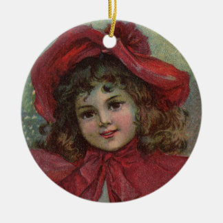 Vintage Christmas child with red Victorian Dress Ceramic Ornament