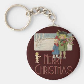 Vintage Christmas Children and Cherub Basic Round Button Keychain