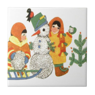 Vintage Christmas, children and snowman Tile